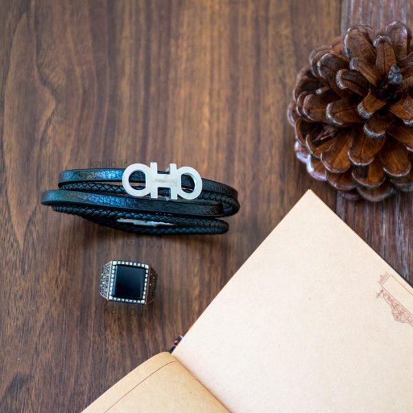 خرید دستبند چرم فراگامو Ferragamo مشکی نقره ای