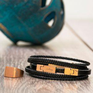 خرید دستبند چرم فراگامو Ferragamo مشکی رزگلد