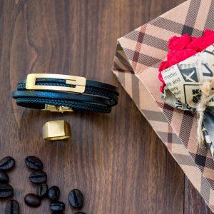 خرید دستبند چرم گوچی Gucci مشکی طلائی