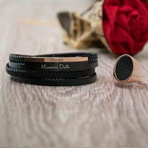 خرید دستبند چرم ماسیمو داتی Massimo Dutti مشکی رزگلد
