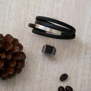 خرید دستبند چرم مون بلان Mont Blank مشکی نقره ای