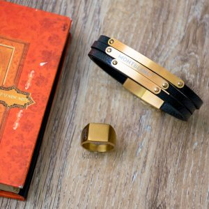 خرید دستبند چرم مون بلان Mont Blank مشکی طلائی