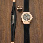خرید دستبند چرم مون بلان Mont Blank مشکی رزگلد
