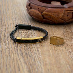 خرید دستبند چرم مون بلان Mont Blank مشکی طلایی