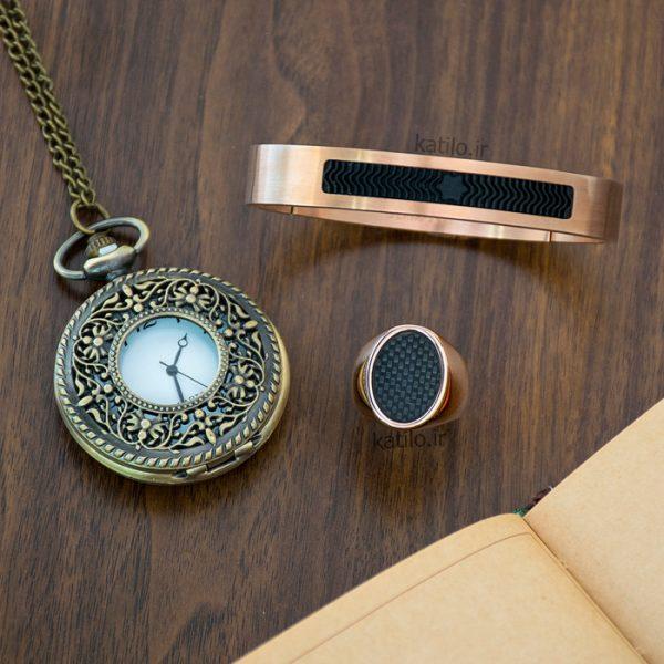 خرید دستبند استیل مون بلان Mont Blank رزگلد