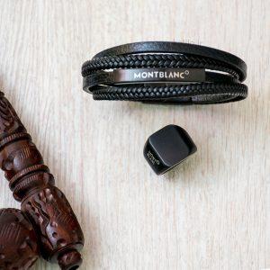 خرید دستبند چرم مون بلان Mont Blank مشکی