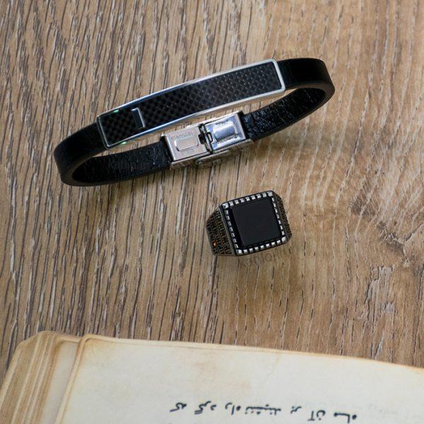خرید دستبند چرم مون بلان Mont Blank مشکی استیل