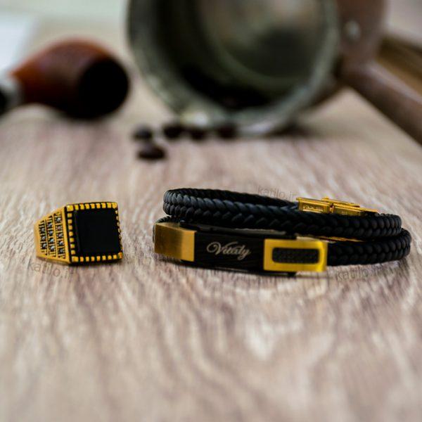 خرید دستبند چرم ویتالی Vitaly مشکی طلائی